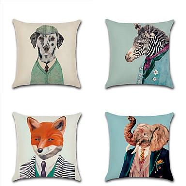 4.0 kom Pamuk / Posteljina Navlaka za jastuk, Art Deco Divljina Moda Moderna Baci jastuk