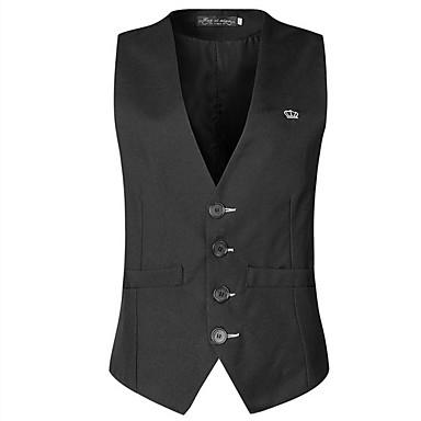 رخيصةأون سترات و بدلات الرجال-رجالي أسود XL XXL XXXL Vest لون سادة V رقبة