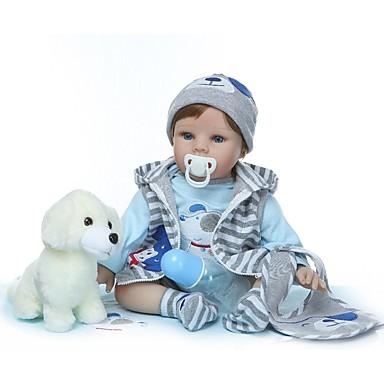 olcso babák-NPKCOLLECTION Reborn Dolls Fiú babák 24 hüvelyk Vinil - Ajándék Kézzel készített Mesterséges beültetés kék szemek Gyerek Uniszex Játékok Ajándék