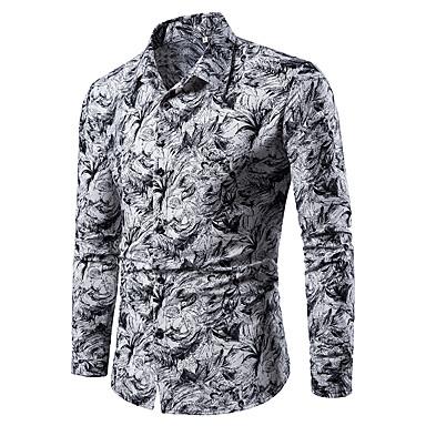 meilleures baskets 56a99 0a0cd [€18.35] Chemise Grandes Tailles Homme, Fleur / Géométrique / Cachemire -  Coton Imprimé Bleu