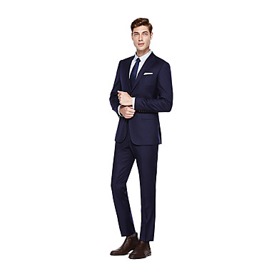 cheap Tuxedos & Suits-Custom Suits Navy Blue Solid Colored Standard Fit Wool Suit - Peak Single Breasted Two-buttons