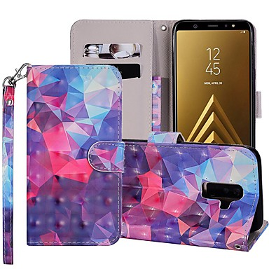 voordelige Galaxy A-serie hoesjes / covers-hoesje Voor Samsung Galaxy A5(2018) / A6 (2018) / A6+ (2018) Portemonnee / Kaarthouder / met standaard Volledig hoesje Geometrisch patroon / Kleurgradatie Hard PU-nahka