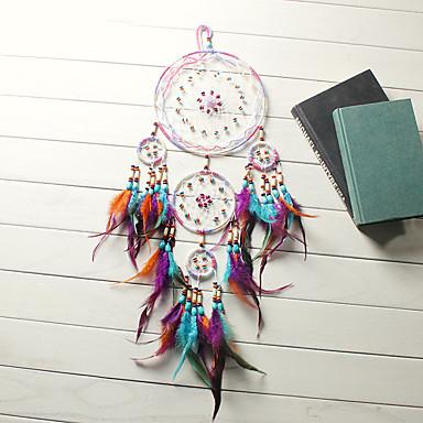 povoljno Wall Art-tradicionalne rukotvorine hvatač snova visi perje ukras s pet prstena