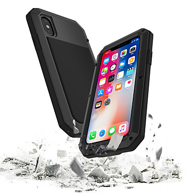 Недорогие Кейсы для iPhone 6-Кейс для Назначение Apple iPhone XS / iPhone XR / iPhone XS Max Водонепроницаемый / Защита от удара / Защита от пыли Чехол броня Твердый Закаленное стекло / Металл