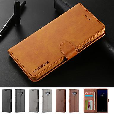 Недорогие Чехлы и кейсы для Galaxy Note-Кейс для Назначение SSamsung Galaxy Note 9 / Note 8 Бумажник для карт / со стендом / Магнитный Чехол Однотонный Твердый Кожа PU