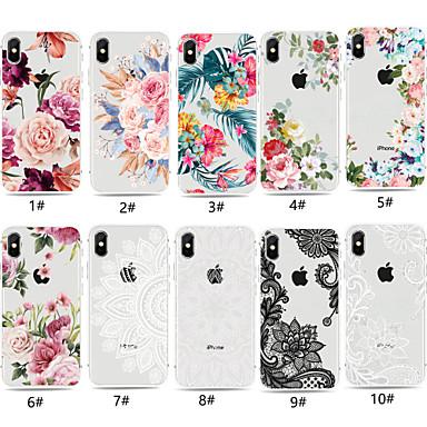 Недорогие Кейсы для iPhone 6-Кейс для Назначение Apple iPhone XS / iPhone XR / iPhone XS Max Прозрачный / С узором Кейс на заднюю панель Цветы Мягкий ТПУ