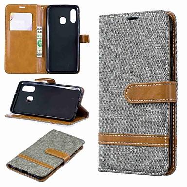 رخيصةأون حافظات / جرابات هواتف جالكسي A-غطاء من أجل Samsung Galaxy A6 (2018) / A6+ (2018) / Galaxy A7(2018) محفظة / حامل البطاقات / مع حامل غطاء كامل للجسم قرميدة قاسي منسوجات