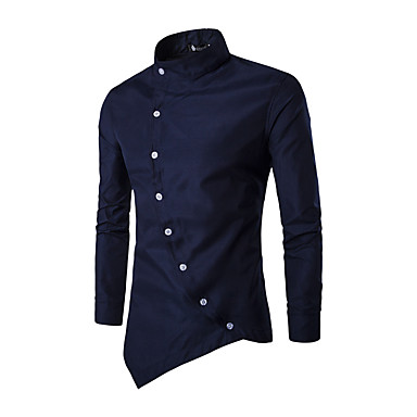 cheap Valentine's Day-Men's Shirt - Solid Colored Patchwork Standing Collar Black