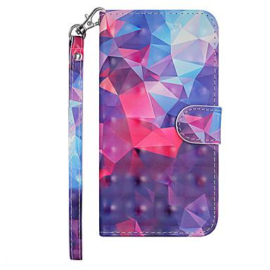 Недорогие Чехлы и кейсы для Nokia-Кейс для Назначение Nokia Nokia 3.1 Кошелек / Бумажник для карт / со стендом Чехол Геометрический рисунок / Градиент цвета Твердый Кожа PU