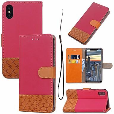 رخيصةأون أغطية أيفون-غطاء من أجل Apple iPhone XS / iPhone XR / iPhone XS Max حامل البطاقات / مع حامل / قلب غطاء كامل للجسم لون سادة / نموذج هندسي قاسي منسوجات