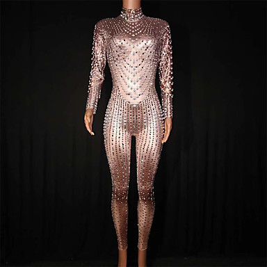 cheap Activewear-Exotic Dancewear Nightclub Jumpsuits / Club Costume Women's Performance Spandex Pearls / Crystals / Rhinestones Long Sleeve Leotard / Onesie
