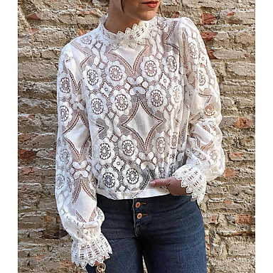 cheap Blouses & Shirts-Women's T-shirt Solid Colored Lace Tops White Black
