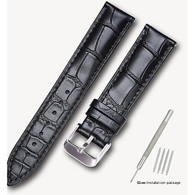 رخيصةأون إكسسوارات الساعات-جلد أصلي / جلد / شعر العجل حزام حزام إلى أسود / بني 17CM / 6.69 بوصة / 18cm / 7 Inches / 19cm / 7.48 Inches 1.4cm / 0.55 Inches / 1.6cm / 0.6 Inches / 1.8cm / 0.7 Inches