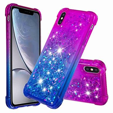 voordelige iPhone-hoesjes-hoesje Voor Apple iPhone XS / iPhone XR / iPhone XS Max Schokbestendig / Stromende vloeistof Achterkant Glitterglans / Kleurgradatie Zacht TPU