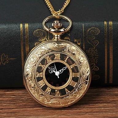 رجالي ساعة جيب كوارتز ذهبي ساعة كاجوال طرد كبير مماثل موضة - ذهبي