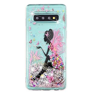 Недорогие Чехлы и кейсы для Galaxy S-Кейс для Назначение SSamsung Galaxy S9 / S9 Plus / S8 Plus Защита от удара / Движущаяся жидкость / Прозрачный Кейс на заднюю панель Соблазнительная девушка / Сияние и блеск Мягкий ТПУ