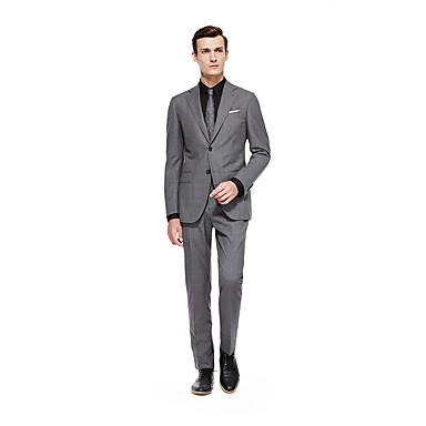 cheap Tuxedos & Suits-Custom Suits Silver Solid Colored Standard Fit Wool Suit - Notch Single Breasted Two-buttons