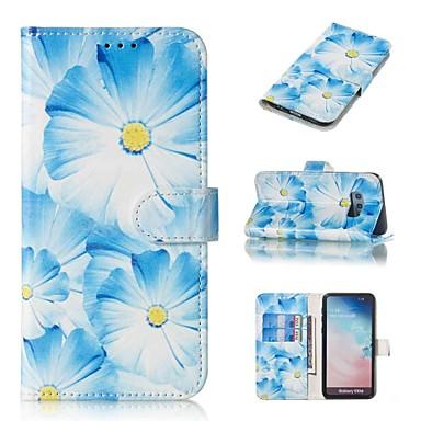 Недорогие Чехлы и кейсы для Galaxy S-Кейс для Назначение SSamsung Galaxy S9 / S9 Plus / S8 Plus Кошелек / Бумажник для карт / Флип Чехол Цветы Твердый Кожа PU