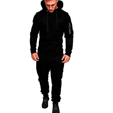 رخيصةأون كنزات هودي رجالي-Activewear مجموعة رجالي لون سادة / مموه أساسي