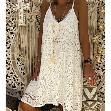 cheap Lace Dresses-Women's A Line Dress - Sleeveless Strap White Black Red Blushing Pink S M L XL XXL XXXL XXXXL XXXXXL