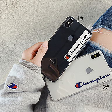 voordelige iPhone 7 Plus hoesjes-hoesje Voor Apple iPhone XS / iPhone XR / iPhone XS Max Transparant / Patroon Achterkant Woord / tekst / Transparant Zacht TPU