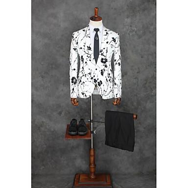 povoljno Mladoženja i kum-white light Patterned Standardni kroj Pamuk / Poliester Odijelo - Stepenasti Droit 1 bouton / odijela
