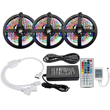 olcso RGB szalagfények-kwb 3x5m fényszórókészletek rgb szalagfények 900 LED smd2835 8mm 1 12v 6a adapter 1 44keys távirányító rgb váltható csatolható színátmenet 100-240 v 1 készlet
