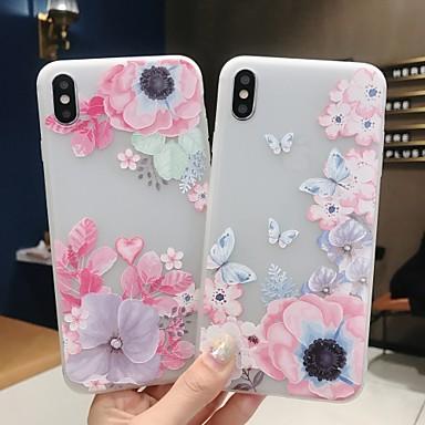 voordelige iPhone 5 hoesjes-hoesje Voor Apple iPhone XS / iPhone XR / iPhone XS Max Mat / Patroon Achterkant Vlinder / Bloem Zacht TPU