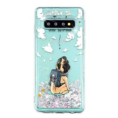 Недорогие Чехлы и кейсы для Galaxy S-Кейс для Назначение SSamsung Galaxy S9 / S9 Plus / S8 Plus Защита от удара / Движущаяся жидкость / Прозрачный Кейс на заднюю панель С собакой / Сияние и блеск Мягкий ТПУ