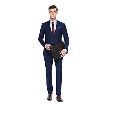 cheap Tuxedos & Suits-Custom Suits Aquamarine Solid Colored Standard Fit Wool Suit - Peak Single Breasted Two-buttons