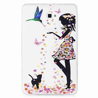 voordelige Samsung Tab-serie hoesjes / covers-hoesje Voor Samsung Galaxy Tab E 9.6 / Tab A 10.1 (2016) Patroon Achterkant Vlinder / Sexy dame Zacht TPU