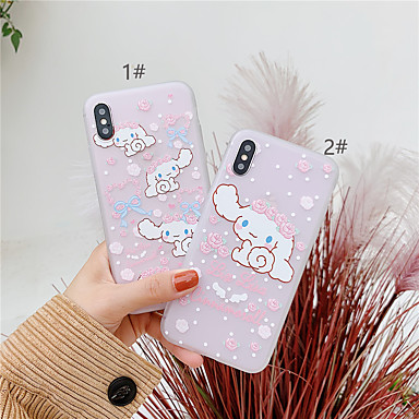 voordelige iPhone-hoesjes-hoesje Voor Apple iPhone XS / iPhone XR / iPhone XS Max Mat Achterkant Hond / Cartoon Zacht TPU