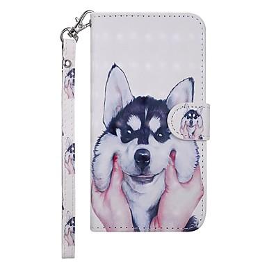 Недорогие Чехлы и кейсы для Nokia-Кейс для Назначение Nokia Nokia 7.1 Кошелек / Бумажник для карт / со стендом Чехол С собакой Твердый Кожа PU
