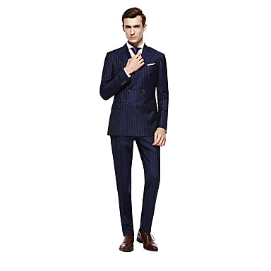 cheap Tuxedos & Suits-Custom Suits Dark navy Striped Standard Fit Wool Suit - Peak Double Breasted Six-buttons