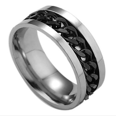 ieftine Inele-Inel Stil Clasic Argintiu / negru Negru și Auriu Negru Teak Modă Lanț Ieftin 1 buc 6 7 8 9 10 / Bărbați