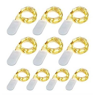 10 pacote 1 m led luzes da corda 10 led micro luzes em fio de cobre de prata para diy peça central da festa de casamento decoração de mesa