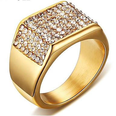 رخيصةأون خواتم-رجالي خاتم مكعب زركونيا 1PC ذهبي الصلب التيتانيوم مربع أنيق مناسب للحفلات مناسب للبس اليومي مجوهرات كلاسيكي جيبسوفيلا كوول