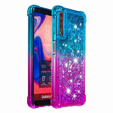 رخيصةأون حافظات / جرابات هواتف جالكسي A-غطاء من أجل Samsung Galaxy Galaxy A7(2018) / Galaxy A9 (2018) / Galaxy A10 (2019) ضد الصدمات / سائل متدفق غطاء خلفي بريق لماع / لون متغاير ناعم TPU