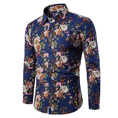 رخيصةأون قمصان رجالي-رجالي عتيق / بوهو قطن قميص, ورد / منقوش / زخرفات ياقة مفرودة نحيل / كم طويل / الربيع / الخريف