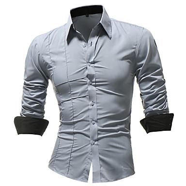 رخيصةأون قمصان رجالي-رجالي مقاس أوروبي / أمريكي - قطن قميص, لون سادة