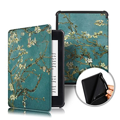cheap Kindle Paperwhite-Case For Amazon Kindle PaperWhite 4 2018 Shockproof / Flip / Origami Full Body Cases Flower Hard PU Leather