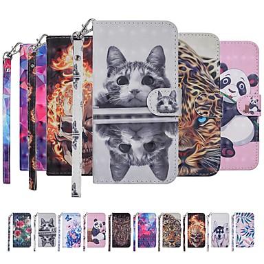 Недорогие Чехлы и кейсы для Galaxy Note-Кейс для Назначение SSamsung Galaxy Note 9 Кошелек / Бумажник для карт / со стендом Чехол Кот / С собакой / Бабочка Твердый Кожа PU