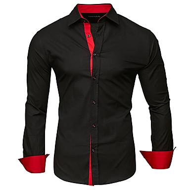 رخيصةأون قمصان رجالي-رجالي بقع قياس كبير - قطن قميص, لون سادة / ألوان متناوبة ياقة كلاسيكية