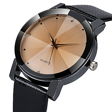 cheap Leather band Watches-Men's Dress Watch Quartz Casual Water Resistant / Waterproof Analog White Black / Leather / Imitation Diamond