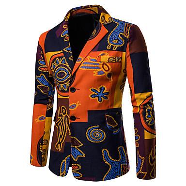 povoljno Muška moda-Muškarci Veći konfekcijski brojevi Sako, Geometrijski oblici / Duga Klasični rever Pamuk / Lan Duga