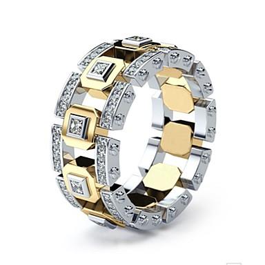 رخيصةأون خواتم-رجالي نسائي خاتم 1PC ذهبي خاتم فضة 1 الطوق الذهبي 1 تقليد الماس سبيكة أوروبي مناسب للبس اليومي مجوهرات فراغ خارجي حد السكين