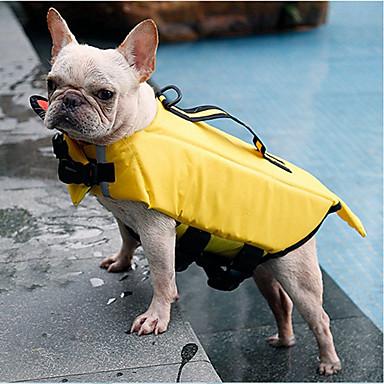رخيصةأون ملابس وإكسسوارات الكلاب-كلاب قطط سترة نجاة ملابس الكلاب أصفر رمادي كوستيوم هاسكي لابرادور Malamute ألاسكا تيريليني نايلون بولي لون سادة مقاومة الماء الرياضات S M L XL