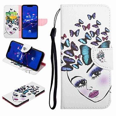 voordelige Huawei Y-serie hoesjes / covers-hoesje Voor Huawei Honor 9 / Honor 8 / Huawei Honor 7 Kaarthouder / met standaard / Flip Volledig hoesje Vlinder / Sexy dame Hard PU-nahka