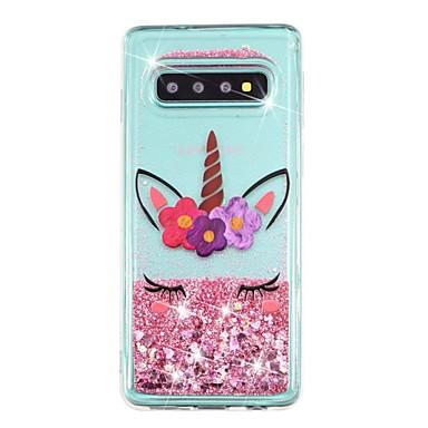 Недорогие Чехлы и кейсы для Galaxy S-Кейс для Назначение SSamsung Galaxy S9 / S9 Plus / S8 Plus Защита от удара / Движущаяся жидкость / Прозрачный Кейс на заднюю панель Сияние и блеск Мягкий ТПУ