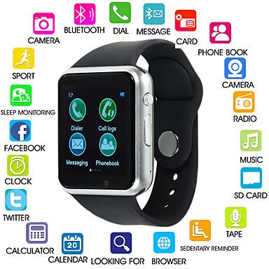 رخيصةأون ساعات ذكية-A1S نسائي سمارت ووتش Android بلوتوث شاشة لمس رمادي داكن مكالمات بدون يد راديو FM كاميرا عداد الخطى تذكرة بالاتصال متتبع النشاط متتبع النوم تذكير المستقرة / 0.3 MP / أجد هاتفي / حساس الجاذبية